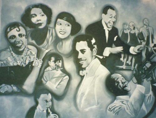 20's Speakeasy Painted Backdrop- Jazz Greats - 12' tall x 16' wide