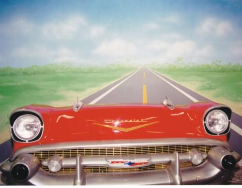50s Car Prop Photo Opportunity - Includes Painted Highway Backdrop