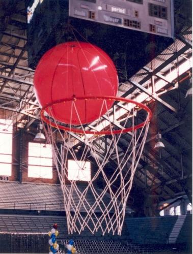 Basketball - Inflatable Basketball and 8' long Basketball Net Display