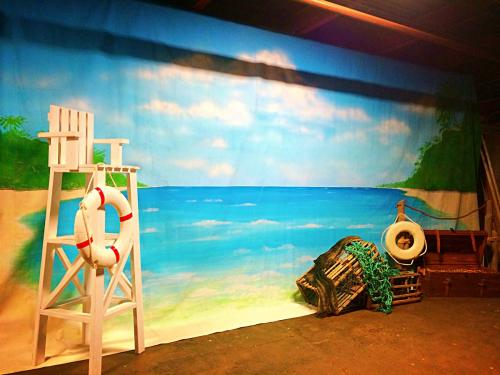 Tropical Beach and Water Painted Backdrop - 12' tall x 24' wide