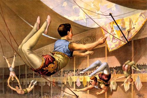Circus - Acrobat Vintage Design - 8' tall x 12' wide