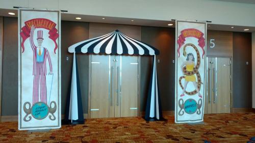 Circus - Big Top - Black and White Striped Entrance with Carnival (Painted) Banners