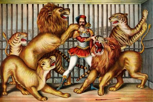 Circus - Lion Tamer Vintage Design - 8' tall x 12' wide