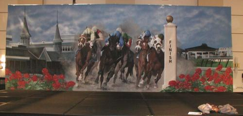 Derby Theme Painted Backdrop - 12' tall x 32' wide