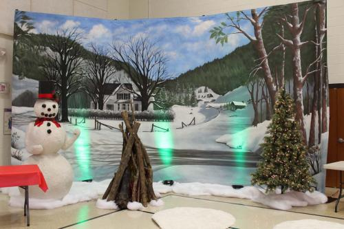 Holiday - Winter Scene Backdrop - Snowman - Campfire Scene