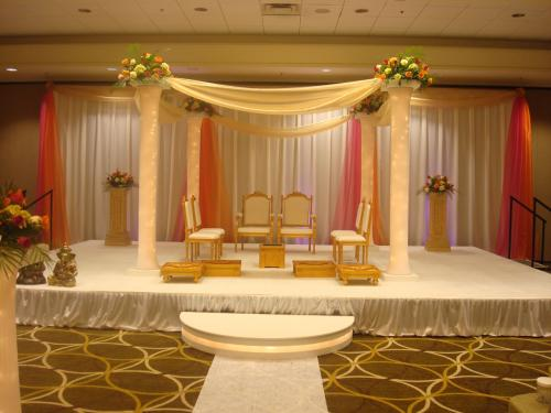 Indian Wedding Mandap with Lighted Columns