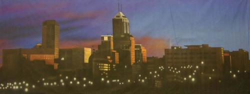 Indianapolis Skyline At Dawn Painted Backdrop -  8' tall x 20' wide