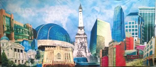 Indianapolis Skyline - Collage Design - 12' tall x 22' wide