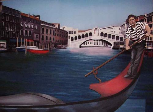 Venice Canal Painted Backdrop - with gondola and gondolier painted cut-outs - used as a photo opportunity