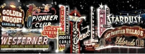 Las Vegas - Vintage Painted Backdrop - 12' tall x 32' wide