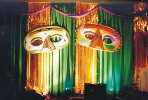 New Orleans - Mardi Gras Theme - Decorated Masks - Stage Set