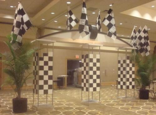 Race Theme - Black and White Checkered Column Entrance