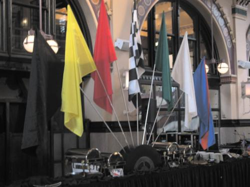 Race Theme - Fanned Flags and Tire Base Display