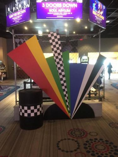 """Race Theme - Seven Color Race Flag """"Color Burst"""" Background"""