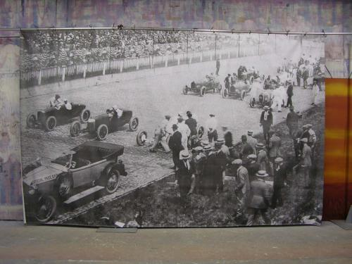 Race Theme - Vintage Photo of Race Track and Cars - 10' tall x 16' wide