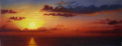 Sunset Over Water Painted Backdrop - 12' tall x 32' wide