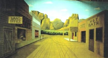 Western Town Painted Backdrop - 12' tall x 24' wide
