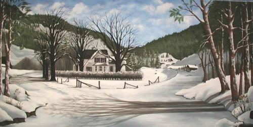 Winter Scene Painted Backdrop - 12' tall x 24' wide